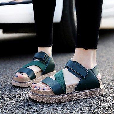 RUGAI-UE Las mujeres sandalias Tacones zapatos casual PU,verde,US5.5 / UE36 / UK3.5 / CN35 Green