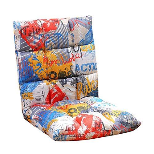 YLCJ Silla de Piso Meditacion de canamo de algodon Plegable Ajustable Lazy Lounge Sofa Cama Juego Sofa Lectura (Color Graffiti)