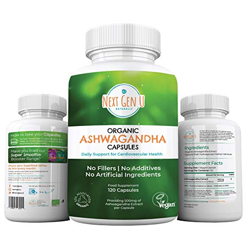 Next Gen U   120 Organic Ashwagandha Capsules with Black Pepper   High Strength Withanolides   4 Months Supply Easy Swallow   Soil Association Vegan Society Certified   Ayurveda Withania Somnifera