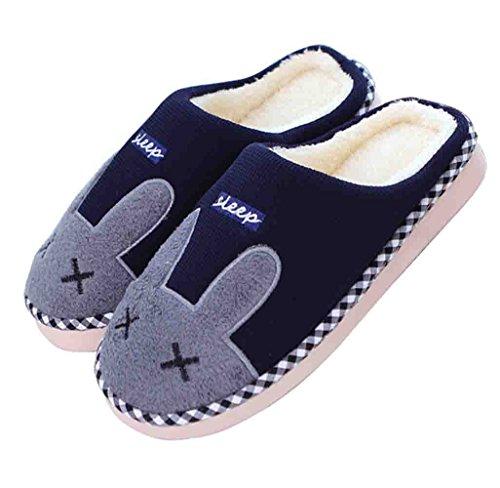 Vrouwen Winter Schattige Konijn Indoor Warme Slippers Indoor Home Slippers Schoenen Blauw
