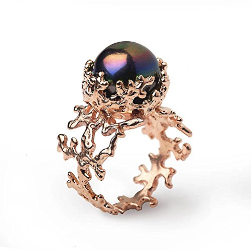 14k Rose Gold, Freshwater Cultured Black Pearl, Organic Engagement Ring, Size 4 to 10 by Arosha