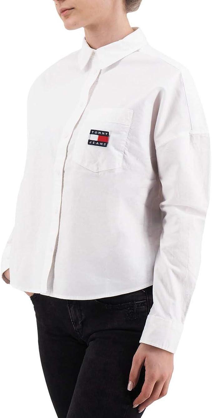 Tommy Jeans, Camisa de Insignia Tommy, Blanca, TMH_DW0DW07962YBR - S: Amazon.es: Ropa y accesorios