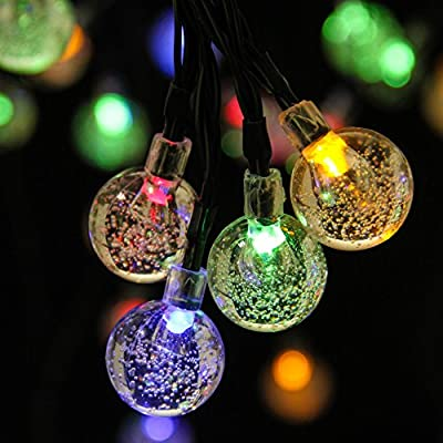 ILLUNITE Solar String Lights 20ft 30LEDs Crystal Ball Decorative 8 Lighting Modes for Outside Garden, Yard, Home, Landscape, Halloween Christmas Party