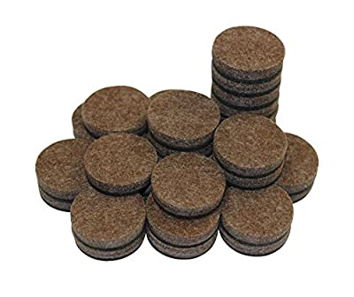 "(50 PACK) 1"" Round Self-Stick Furniture Felt Pads Pack for Hardwood & Laminate flooring Protection I Heavy Duty Pads Prevents Furniture Scratches l Eco-Friendly Brown Linen Furniture Feet Pads"