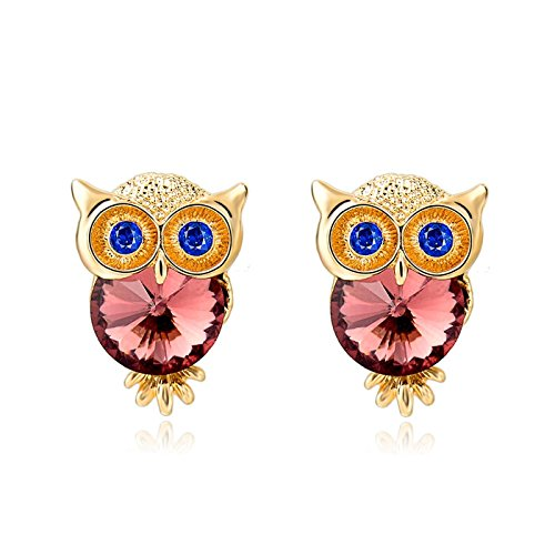 KOSTBAR Jewelry Crystal Owl Stud Earrings For Women Vintage Luxurious Gold - Australia Bulgari