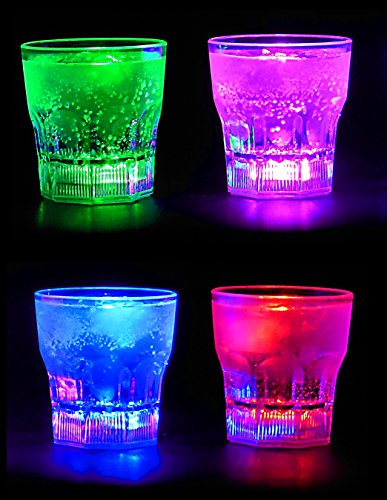 Perfect Pregame LED Light Up Drinking Glasses - 4 Pack Light Up Cups - 4 Mode Solid Color LED Cups - 4 Pack Light Up Drinking -