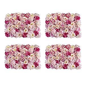 Fenteer Pack of 4 Simulation Silk Flower Wall Panel Mat Home Shop Window Showcase Hanging Wedding Venue Background Decor Rose Pink 12
