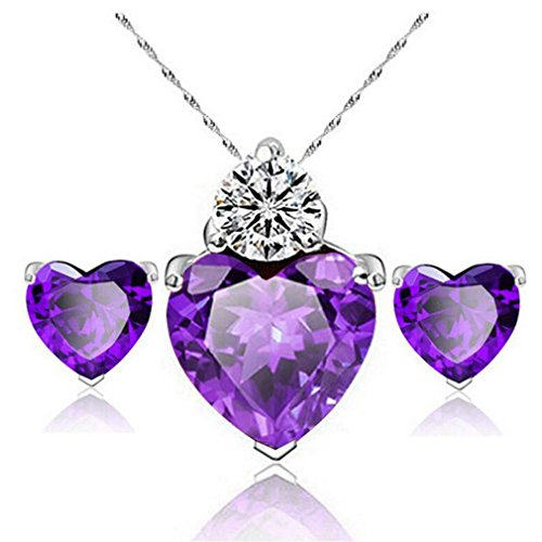 Iuhan Charming Women Girls Heart Shape Sparkling Crystal Jewelry Sets Wedding Party Necklace +Earring Sets (A, Purple) (Cameo Earring Shape Heart)