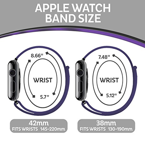 Woven Nylon Replacement Apple Watch Band by Pantheon, Sport Loop Edition, For Men or Women, Strap fits the 38mm or 42mm Apple iWatch, Compatible Series 1, 2, 3, Nike (White, 38mm) by Pantheon (Image #2)