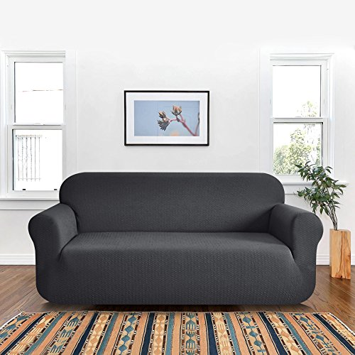 TOYABR 1-Piece Seersucker Sofa Cover Stretchy Dinning Room Sofa Fitted Armchair