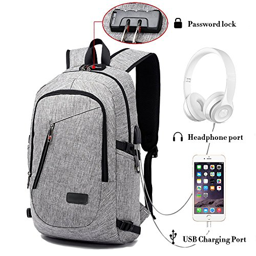 Business Laptop Backpack Waterproof Computer Daypack with USB Charging Port and Lock Fits Travel Backpack (Gray)