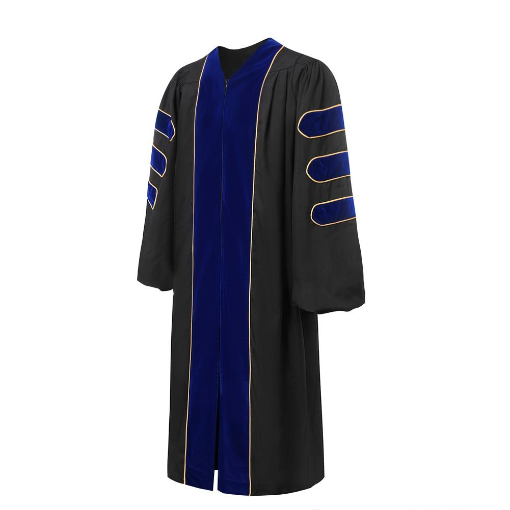 Deluxe Doctoral Graduation Gown-Royal Blue Trim Gold Piping(Royal Blue Size 48)