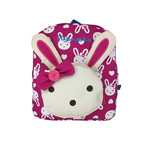 Skyflying Rabbit Animals Kids Book Backpack Baby Girls School Bag Rose -