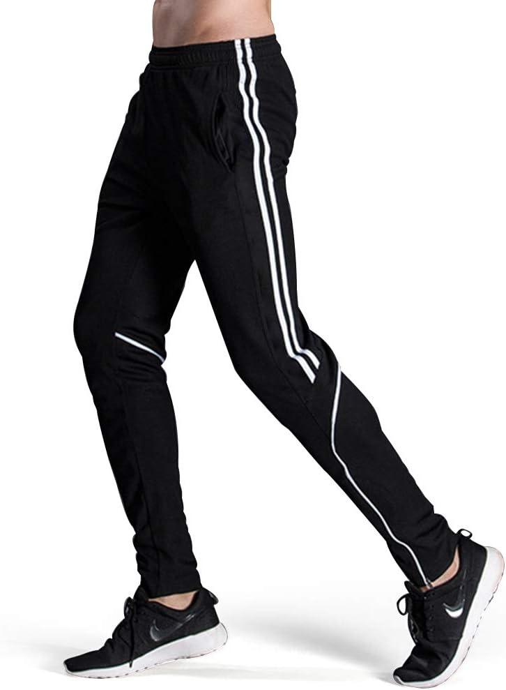 سروال رياضي رجالي رياضي كاجوال لممارسة كرة القدم من GEEK LIGHTING مع جيوب وأرجل سحاب