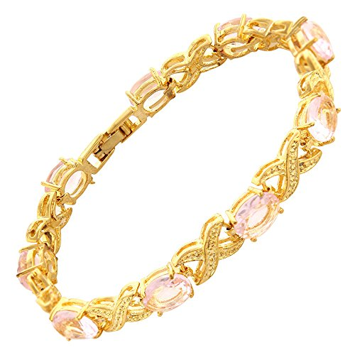 RIZILIA XOXO Link Tennis Bracelet & Oval Cut CZ [Simulated Pink Sapphire] in Gold Plated, 7