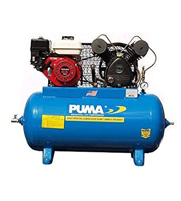Puma Industries PUK-5530HG Air Compressor, Single Stage Gas Powered Belt Drive Series, Honda Engine, 5.5 hp Running, 135 psi, 30 gal, 340 lb.