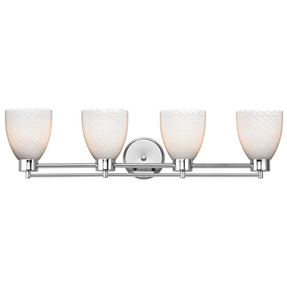 モダンバスルームライトwithホワイトガラスでクローム仕上げ B00E4L4430
