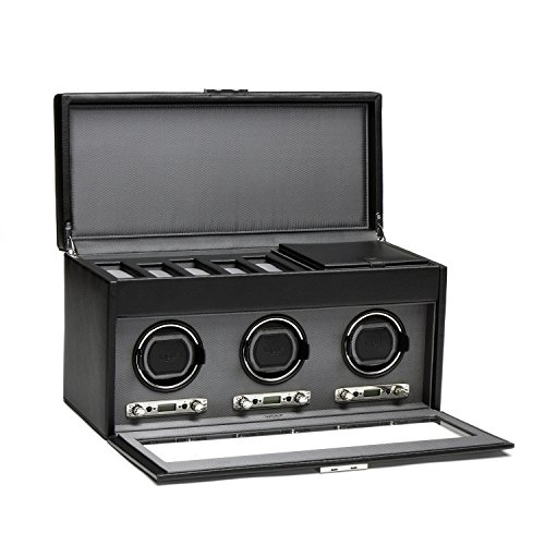 WOLF 456302 Viceroy Triple Watch Winder with Cover and Storage, Black by WOLF (Image #1)