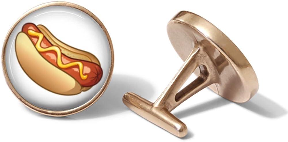 Solid Bronze Hot Dog Cufflinks