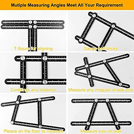 Universal Angularizer Ruler Template Tool-Full Metal Multi Angle Measuring Ruler Angleizer Template Tool Upgraded Aluminum Alloy Multi Functional Ruler with Goniometer Head and Attached Line Level Allinone