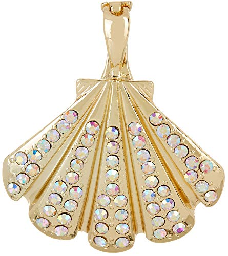 - Wearable Art by Roman Pave Crystal Elements Shell Pendant Gold Tone Multi