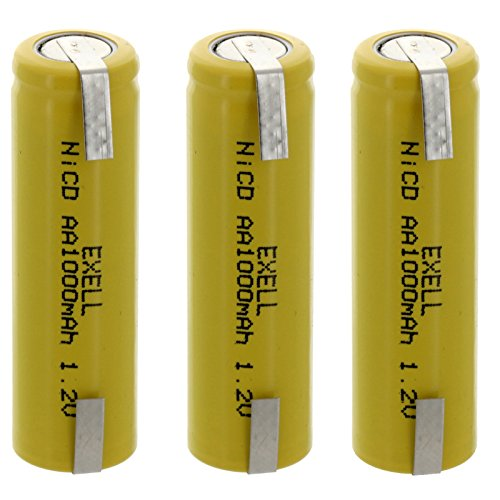(3-PACK) Exell AA 1.2V 1000mAh NiCD Rechargeable Batteries with Tabs for meters, radios, hybrid automobiles, high power static applications (Telecoms, UPS and Smart grid), radio controlled devices (Backups Smart Ups 1000)