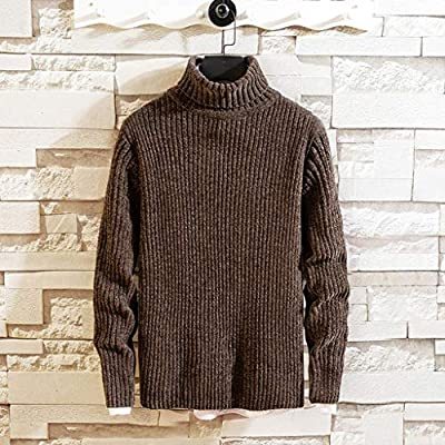 WINJUD Mens Sweater Autumn Winter Warm TurtleneckPullover Solid Knitted Casual Top at  Men's Clothing store