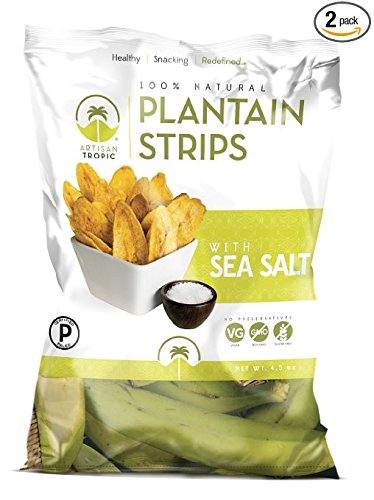 Artisan Tropic Plantain Strips, Sea Salt, Cooked in Sustainable Palm Oil, Paleo Certified, 4.5 Oz, (2 Pack)