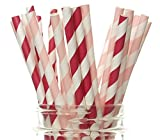 Valentines Day Party Straws (50 Pack) - Red & Pink Paper Straws, Valentines Day Party Supplies & Decorations, Color of Love Drinking Straws