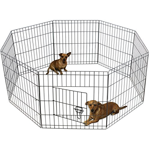 Indoor Dog Pens (OxGord Metal Wire 8-Panel Folding Exercise Yard Fence for Pets, 24 Inch, Black)