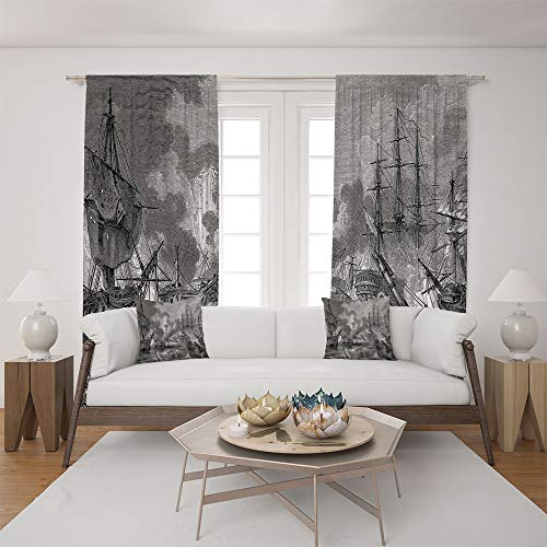 2 Panel Set Satin Window Drapes Living Room Curtains and 2 Pillowcases,Naval Armada Sinking Sailing Vessels War Portrait,The Perfect Combination of Curtains and Pillows Makes Your Living Room Warmer