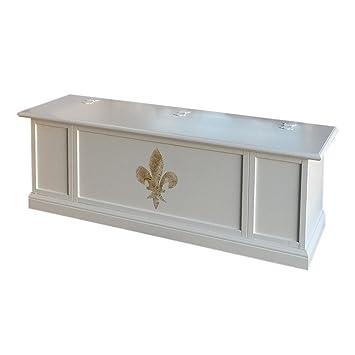 Pieffe Möbel Bolognese Sitzbank Truhe, Holz, Weiß, 100 X 35 X 45 Cm