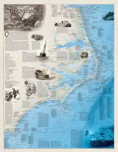 National Geographic: Shipwrecks of the Outer Banks Wall Map (28 x 36 inches) (National Geographic Reference Map)