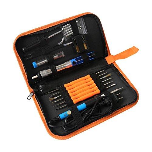Soldering Iron Kit Electronics, Welding Irons Medium 60W Adjustable Temperature Soldering-iron Gun Kits with 5 PCS Soldering Tips, Desoldering Pump, Soldering Iron Stand, Tweezers, ect.