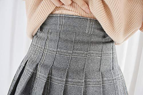 Jupe Hiver Belle quotidiennement Haute Femmes Himifashion cossaise Les Jupe Taille cole plisse Chers Mini Grey pwqgXECx