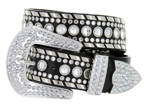 Western Cowgirl Bling Belt with Rhinestone Buckle Set and Studded Strap (38, Black) (Buckle Belt Bling)