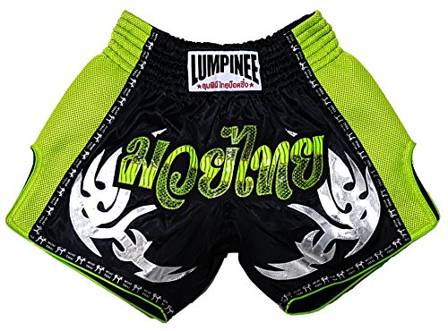 LUMPINEE Retro Original Muay Thai Shorts for Kick Boxing Fight LUMRTO-010 (M, Green Viper)