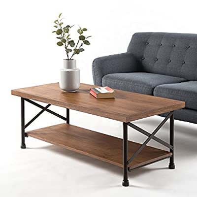 Zinus Industrial Style Coffee Table - Treated pine wood with durable Steel tube legs Pairs with the Zinus industrial style side table Assembles easily in minutes - living-room-furniture, living-room, coffee-tables - 51qSRjUpmwL. SS400  -