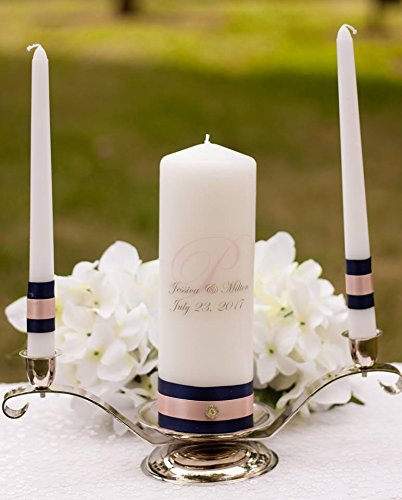 d Blush Wedding Unity Candle Set, with 9- inch pillar and 10-inch inch taper candles, ivory ()
