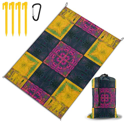 GHDSKH Batik Border Color Cover Flower Frame Geometric Gorgeous Beach Blanket Sand Proof and Waterproof Pocket Sized Picnic Mat Outdoor Beach Mat for Camping, Travel, Hiking, Festival and Sports