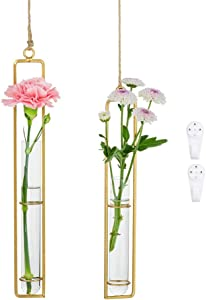 Glass Hanging Planter Terrarium Gold Iron Art Hydroponic Test Tube Vase with Twine Rope and Hook Pots, Medium + Large, Flower Water Container Decoration for Home Office Wedding