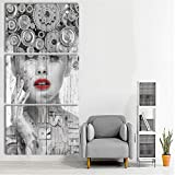 Extra Large Black and White Painting on Canvas Wall Decor Abstract 3 PCS Retro Simple Style Art Work Impression Figure Picture Vintage Home Decoration for Living Room Framed Ready to Hang(28''Wx60''H)