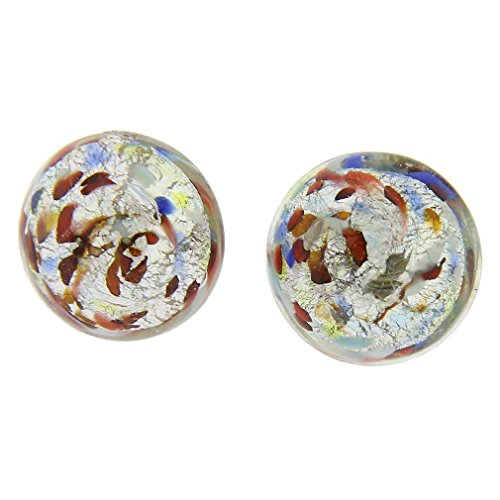 GlassOfVenice Murano Glass Button Stud Earrings - Silver Multicolor Confetti (Earrings White Venetian)