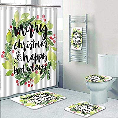 AmaPark 5-Piece Bathroom Set-Merry Christmas and Happy Holidays Rustic Wreath Red Berry and Evergreen Image White Prints Decorate The Bath,1-Shower Curtain,3-Mats,1-Bath Towel
