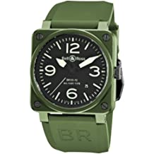 Bell & Ross Men's BR-03-92-MILITARY CERAMIC Aviation Black Dial and Green Strap Watch Watch