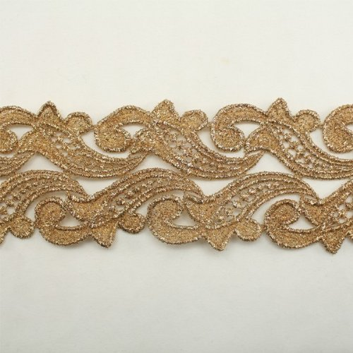 Gold Metallic Floral Flower Lace trim by the yard Bridal wedding Lace Trim wedding fabric Millinery accent motif scrapbooking crafts lace for baby headband hair accessories dress bridal accessories by Annielov trim #73