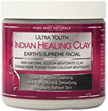 Pure Body Naturals - Bentonite Indian Healing Clay - 16 oz - 100% Pure Sodium Bentonite - Therapeutic Grade - Face Skin Care, Deep Skin Pore Cleansing, Detoxifying, Revitalization - Better Detoxifying Power Than Calcium Bentonite Clay Powder - Try Without Risk Today