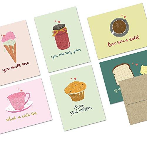 Love Envelope (72 Note Cards - Punny Love - Blank Cards - Kraft Envelopes Included)