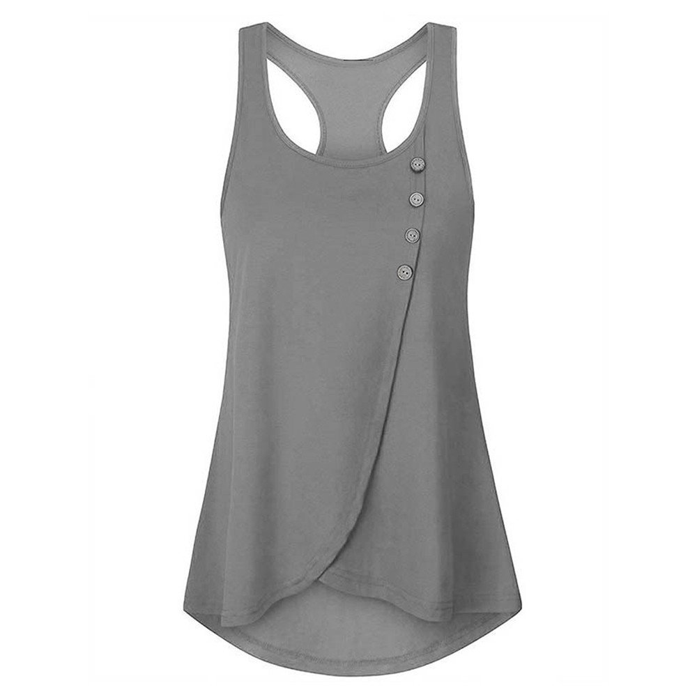Mysky Fashion Women Summer Classic Button Sleeveless Vest Blouse Ladies Simple Pure Irregular Hem Tank Top