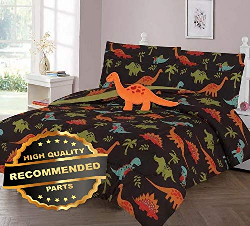 (Werrox Brown Dino Lovers Comforter Bed Sheet Set Window Panel Valance for Kids Teens Size   Quilt Style QLTR-291267568)